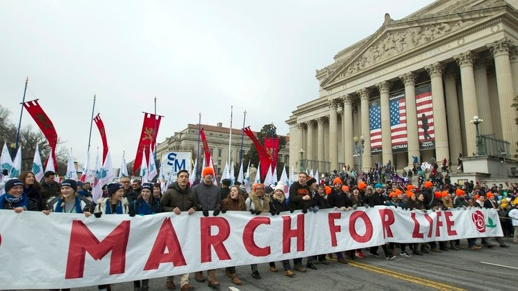 Activistas contra el aborto marchan hacia la Corte Suprema de los Estados Unidos durante la Marcha por la Vida en Washington el viernes 18 de enero de 2019. (Foto AP / José Luis Magana)