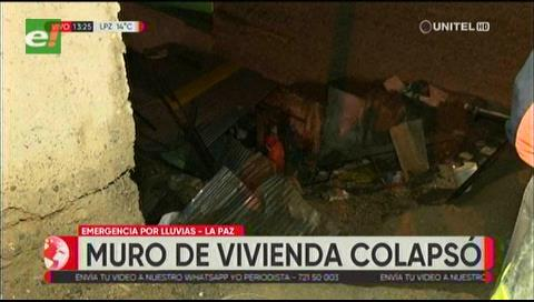 Intensa lluvia en La Paz deja 11 heridos, colapsa muros e inunda calles y avenidas