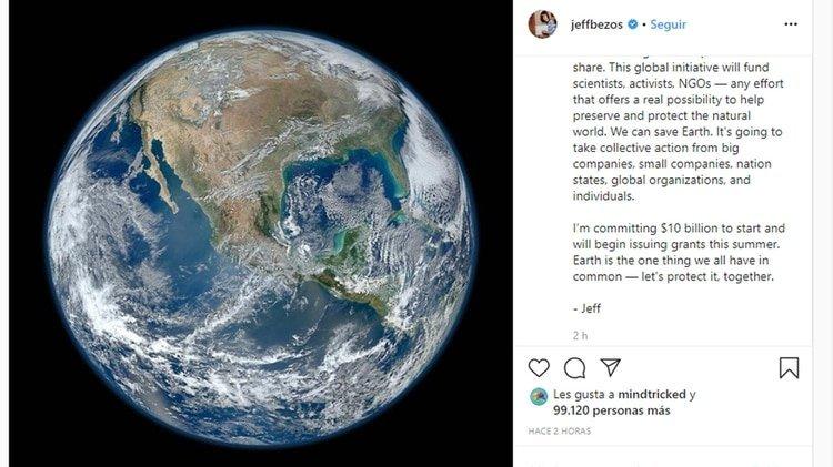La publicación en Instagram de Jeff Bezos