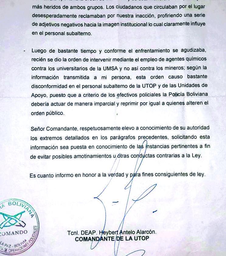 Informe revela que la Policía debía cuidar sólo a gente del MAS durante el conflicto en Bolivia
