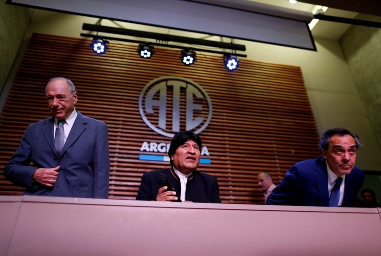Evo Morales durante la conferencia de prensa en Argentina. Foto: REUTERS/Agustin Marcarian