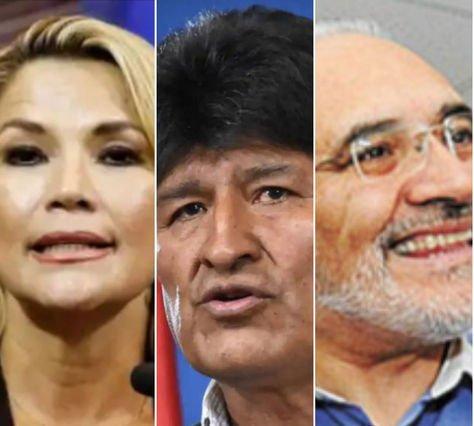 Jeanine Añez, Evo Morales y Carlos Mesa