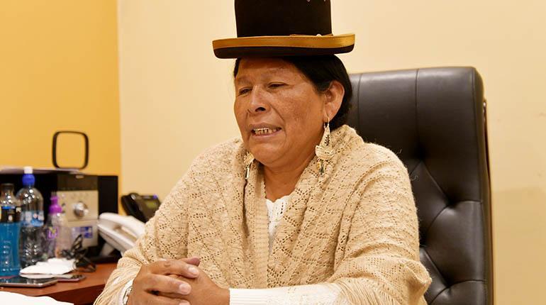 Resultado de imagen de La ministra de Culturas, Martha Yujra,