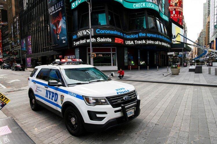 Times Square vacía. Una curantena forzada se decretó en la ciudad de Nueva York, mientras crecen rápidamente los casos de coronavirus en Estados Unidos.
