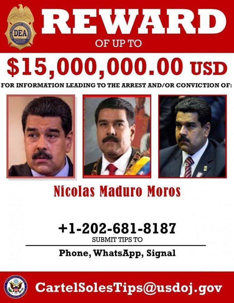 La placa de búsqueda de Nicolás Maduro que divulgó EEUU
