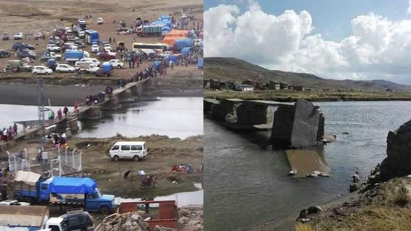 Puno: destruyen puente que une Perú con Bolivia por temor al coronavirus