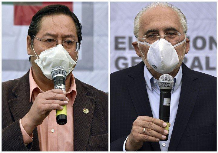 El candidato Luis Arce, del MAS, y Carlos Mesa, de Comunidad Ciudadana, los candidatos con más chances de llegar a la presidencia de Bolivia. Foto: AFP