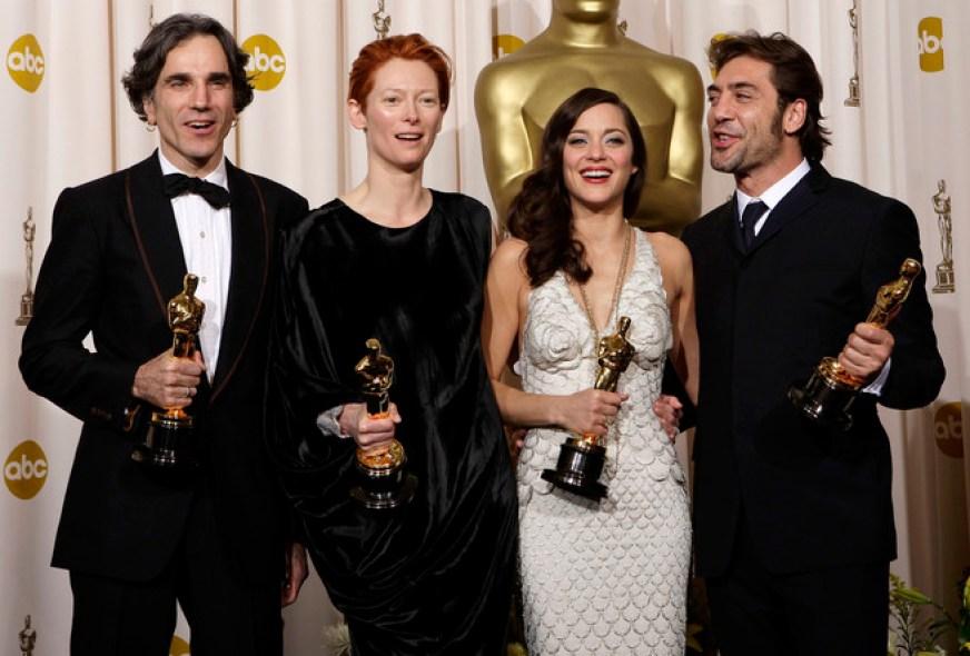 Daniel Day-Lewis, Tilda Swinton, Marion Cotillard y Javier Bardem, ganadores del Oscar en 2007.