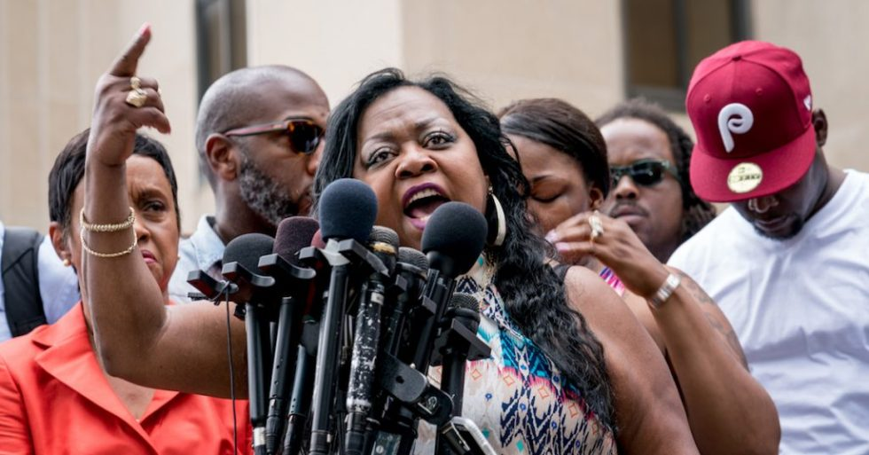 Valerie Castile (Philando's mother) speaking outside the Ramsey County Courthouse in St Paul, MN after a not guilty verdict was reached in the trial of Officer Jeronimo Yanez in the killing of Philando Castile last July. Photo Credit: Lorie Shaull