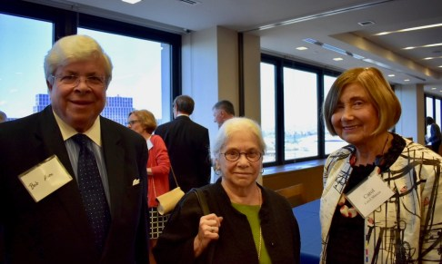L to R: Bob Rose, former clerk to Judge Gibbons; NJ Supreme Court Chief Justice Deborah Poritz, retired, who is the board chair for the Fund for New Jersey, which gave an inaugural leadership gift to the Fund; and former Gibbons clerk Carol Marcus
