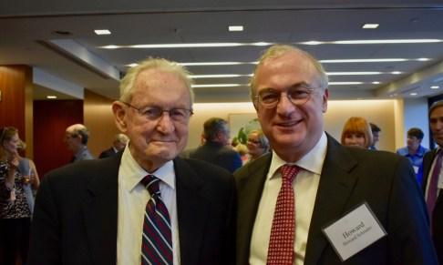 Judge Gibbons with a former clerk, Howard Schrader