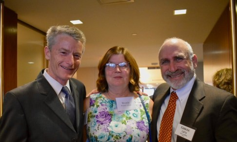 The Honorable Robert J Gilson, former Gibbons Clerk, (left) and his wife, Wendy with Larry Lustberg, Chair of the Gibbons Criminal Defense Department, longtime Director of the John J. Gibbons Fellowship in Public Interest & Constitutional Law, and member of the Fund launch committee