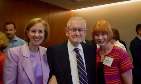 Judge Gibbons flanked by two former clerks, Linda Imes (left) and Kathleen Dockry
