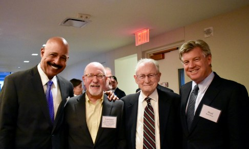 Judge Gibbons with former clerks (L to R) Ted Wells, Lawrence Robbins, and Brad Brian