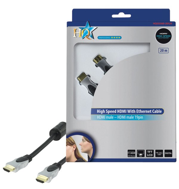 KABEL HDMI-HDMI 20M HQSS GOLD