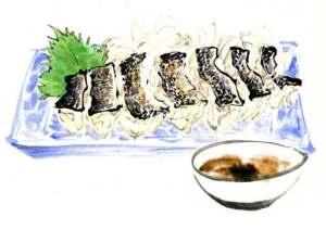 イサキの焼き霜(テレビ朝日「おかずのクッキング」テキスト 「生田與克の旬の魚が一番うまい!」コーナーイラスト)