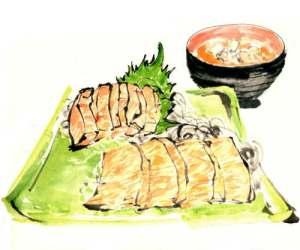 マカジキ刺身と汁物 (テレビ朝日「おかずのクッキング」テキスト 「生田與克の旬の魚が一番うまい!」コーナーイラスト)