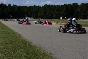 Florida's Sean Meier (30) leads a competitive group of Senior Pro Gas Animal racers at Kershaw, S.C. (NCRM photo)