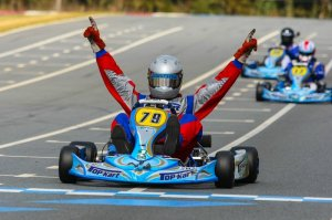 The 'Winning Celebration' was a familiar pose for Top Kart in WKA action (Photo: NCRM)