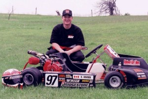 Rob's passion for the sport is fueled each time he gets behind the wheel, and he's seen here with one of his early karts (circa 1997)