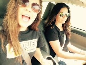 A mother-daughter selfie on the way to the race track