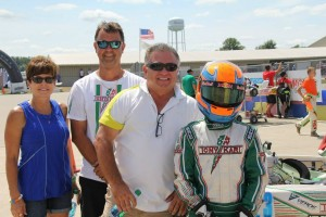 Bev and TJ visiting with Tiffin Willareth and Lance Fenderson during the USPKS event at New Castle (Photo: Kathy Churchill  - Energy Racing)