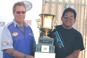 Glenn Araki with Gold Cup for Lake Speed Award