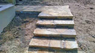 Natural stone masonry - Oklahoma flagstone steps and walkway.