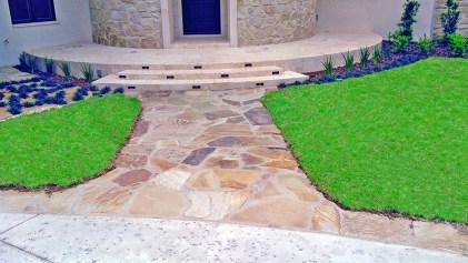 Natural stone masonry - Oklahoma flagstone steps and walkway.
