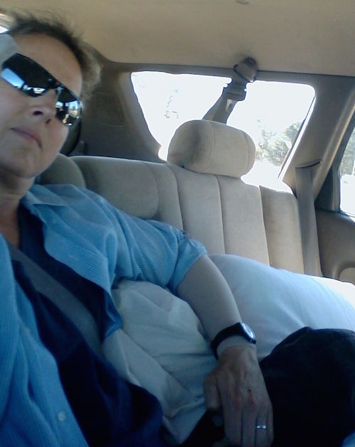 Me surfing on pillows in the back of a car somewhere between Marin County and Placerville, CA
