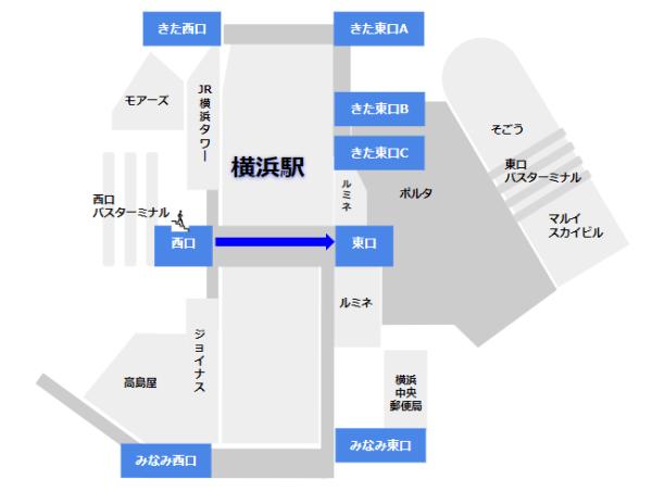横浜駅の西口バスターミナルから東口までの経路