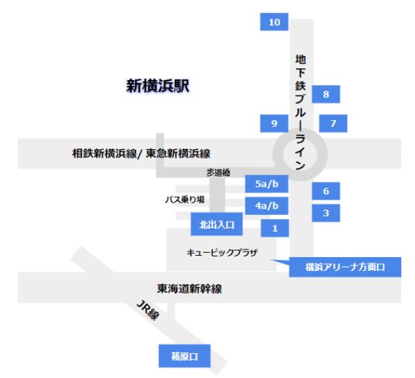 新横浜駅の構内図-出口