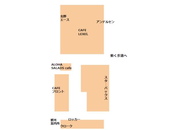 桜木町駅CIALのCAFE、ロッカー、クロークサービスの場所