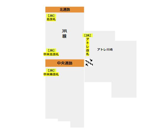 川崎駅の構内図(改札階)