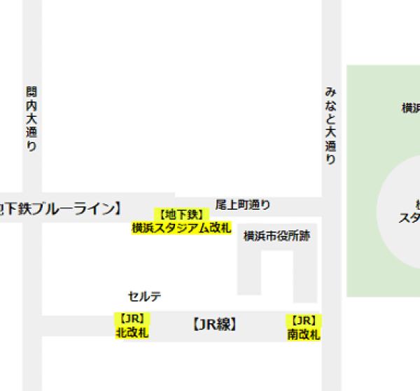関内駅の構内図(改札の位置確認用)