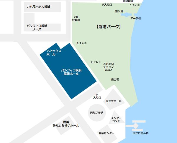 パシフィコ横浜の場所(展示ホール)
