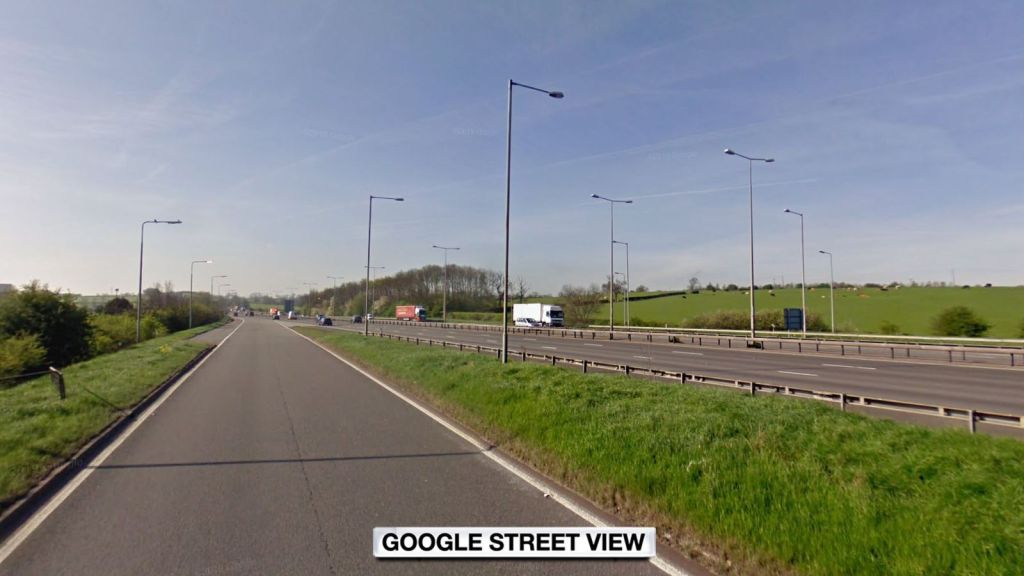 The incident happened on the southbound slip road at Junction 18 of the M1, Northamptonshire