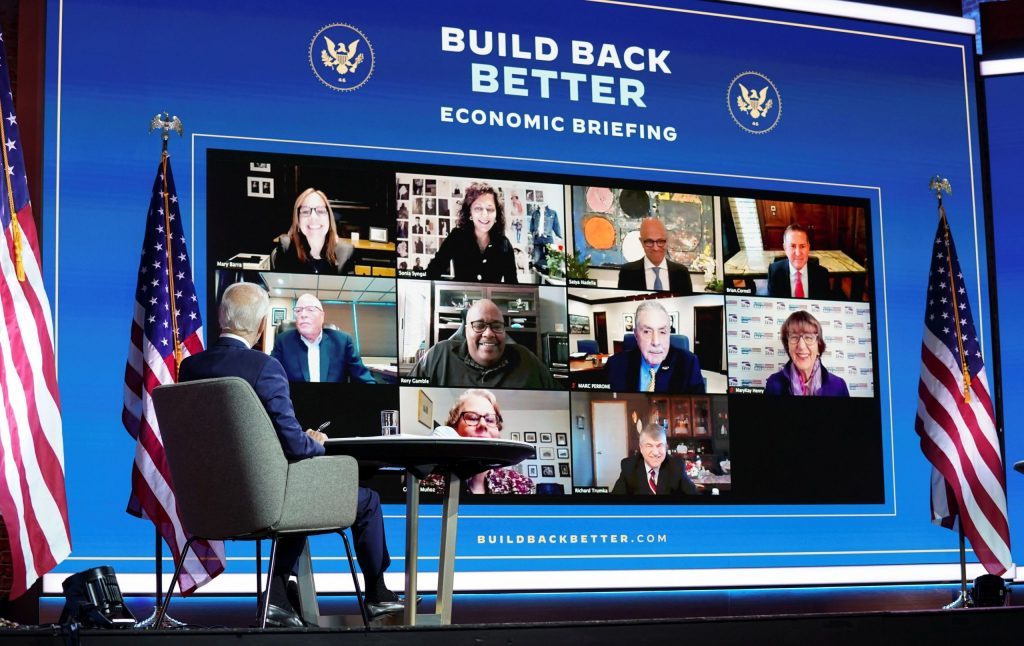 Biden holds joint meeting with union leaders and retail, auto, tech CEOs