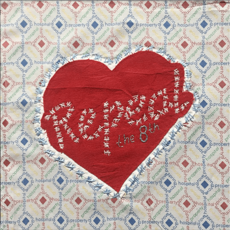 A piece of my own Irish hospital gown embroidered with the R E P E A L T H E 8 t h slogan. It is now part of the collection in the Textile Art Centre in New York.