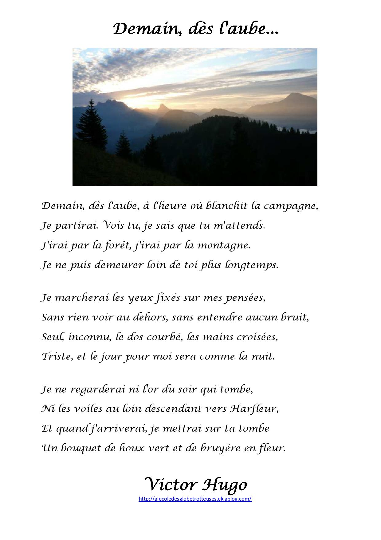 Demain Des L'aube Victor Hugo : demain, l'aube, victor, Demain, L'aube,, Victor, L'école, Globetrotteuses
