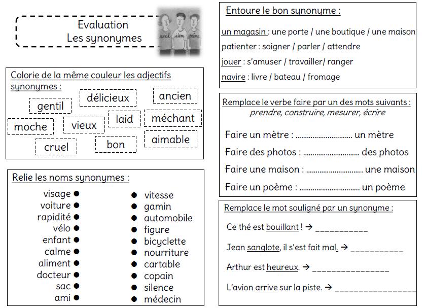 Evaluation sur les synonymes  Lcole de Crevette