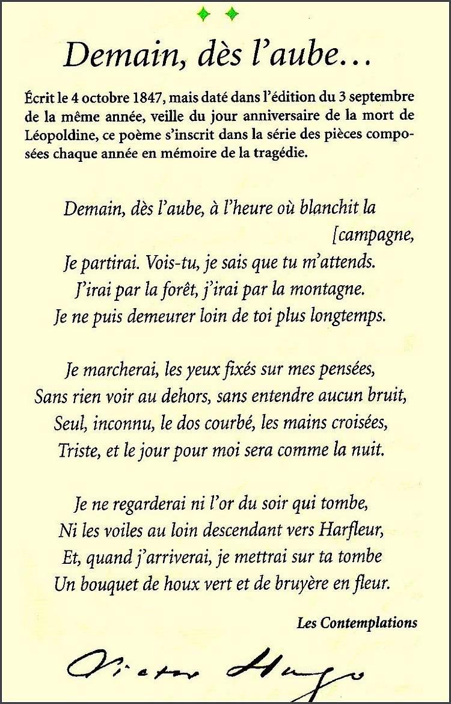 Demain Des L'aube Victor Hugo : demain, l'aube, victor, Demain, L'aube, Poème, Victor, Chezmamielucette