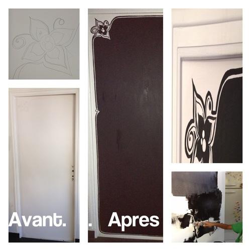 J'ai customisé ma porte de cuisine en tableau d'écolier noir ardoise...