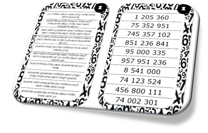 Image result for écrire nombres entiers en lettres cartes autocorrectives