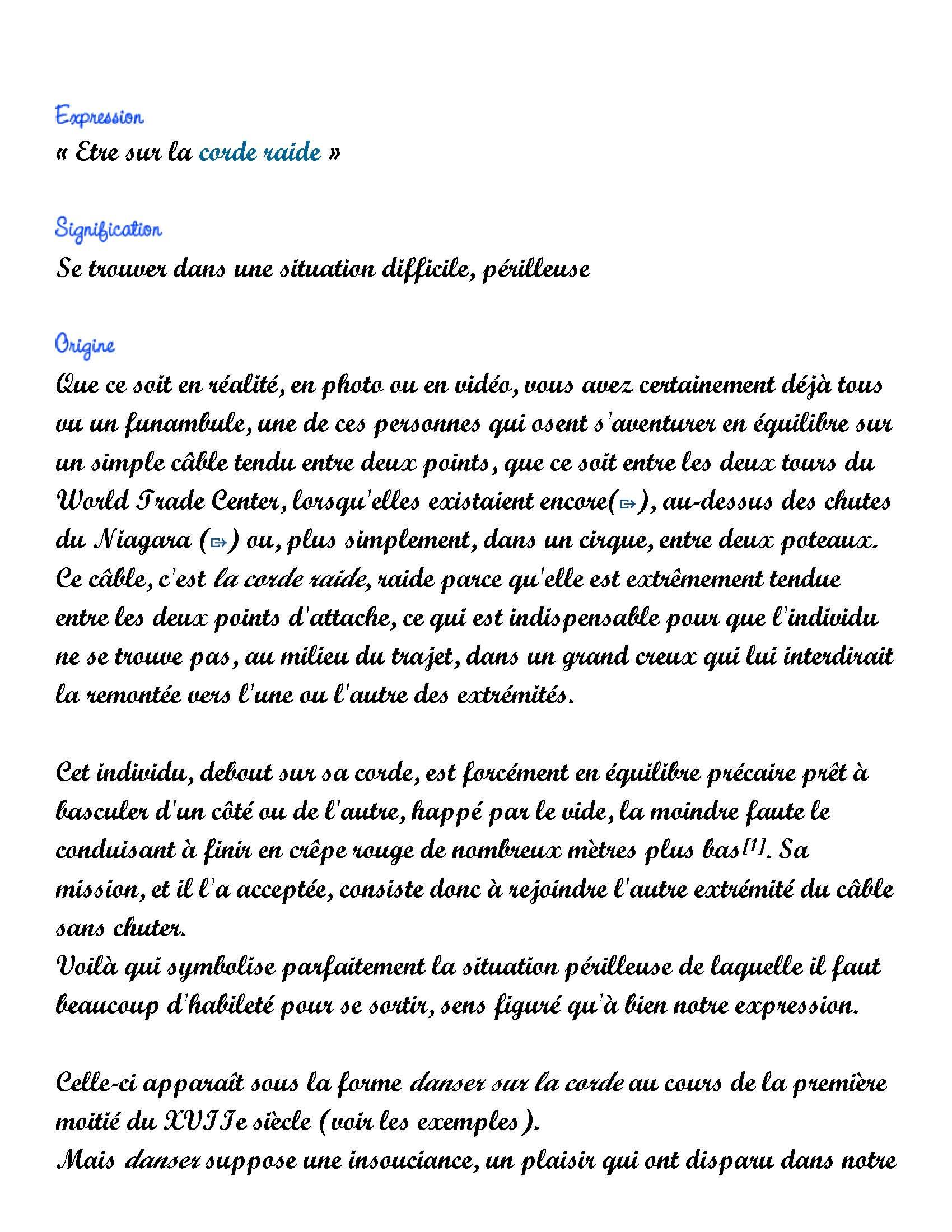 être Sur La Corde Raide : être, corde, raide, Expression, Jour:, Être, Corde, Raide, Pages), Frawsy