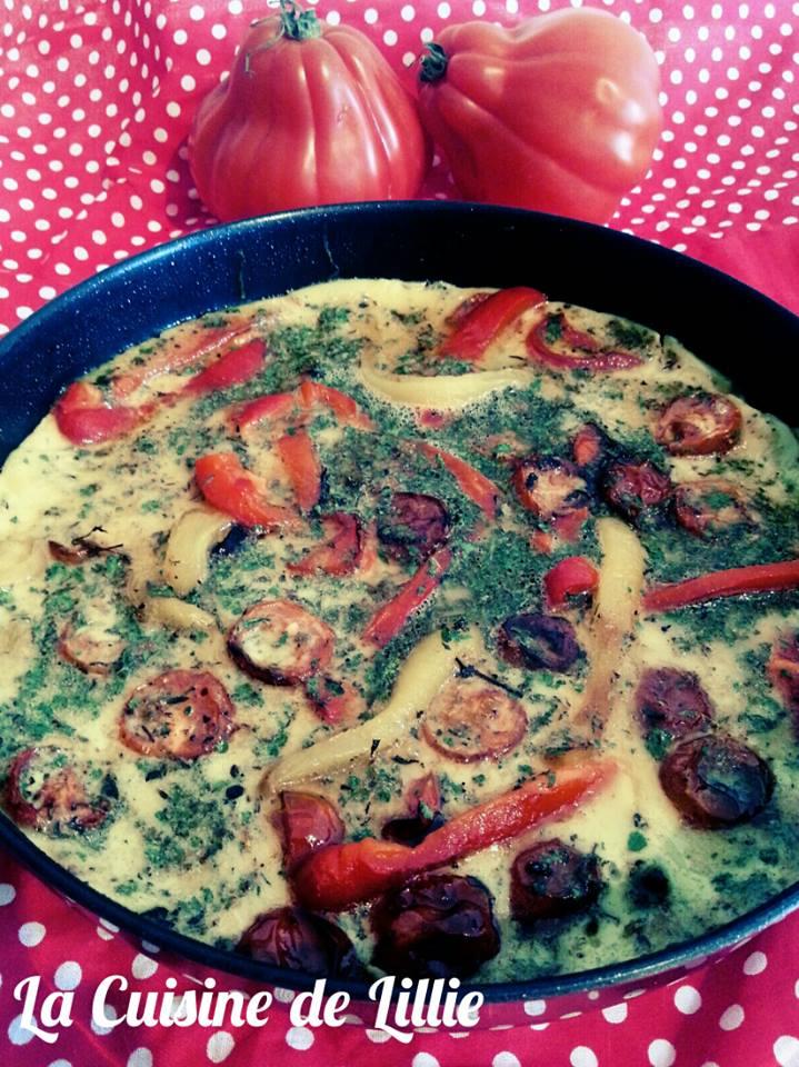 Omelette du Sud aux Poivrons Grillés et Tomates Cerices Confites