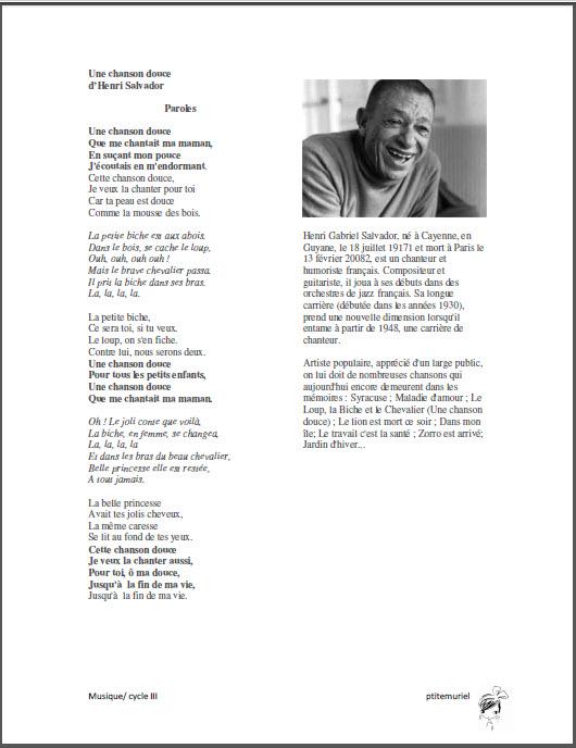 Une Chanson Douce Paroles Pdf : chanson, douce, paroles, Henri, Salvador, Ptitemuriel