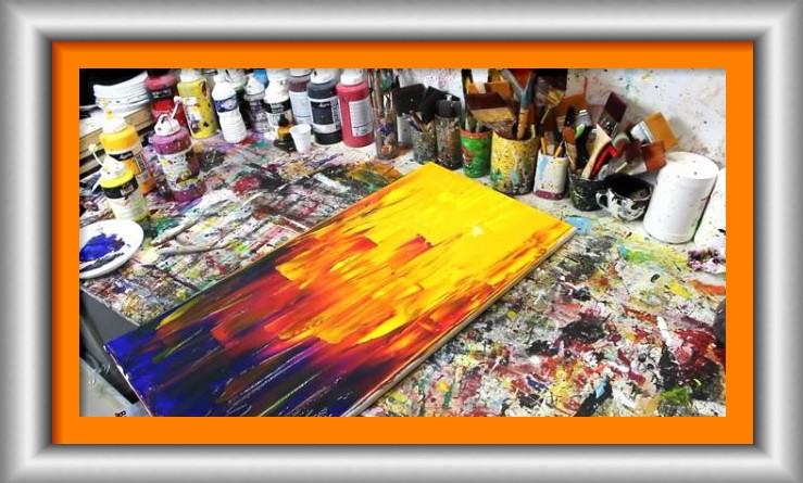 Dessin Et Peinture Video 2265 Demonstration D Une Peinture Abstraite Au Couteau Et Pigments Le Blog De Lapalettedecouleurs Over Blog Com