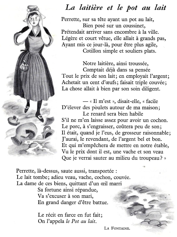 Perrette Et Le Pot Au Lait Texte : perrette, texte, Laitière, (Jean, Fontaine), Littérature, Primaire