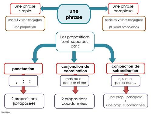 Carte mentale : les phrases complexes et les propositions